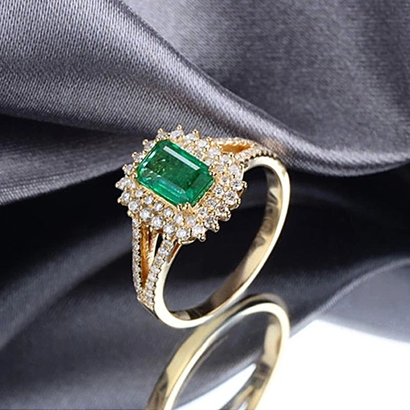 Caimao 18k Sarı Qızıl 0.88ct Kolumbiyalı Zümrüd Diamond nişan - Gözəl zərgərlik - Fotoqrafiya 5