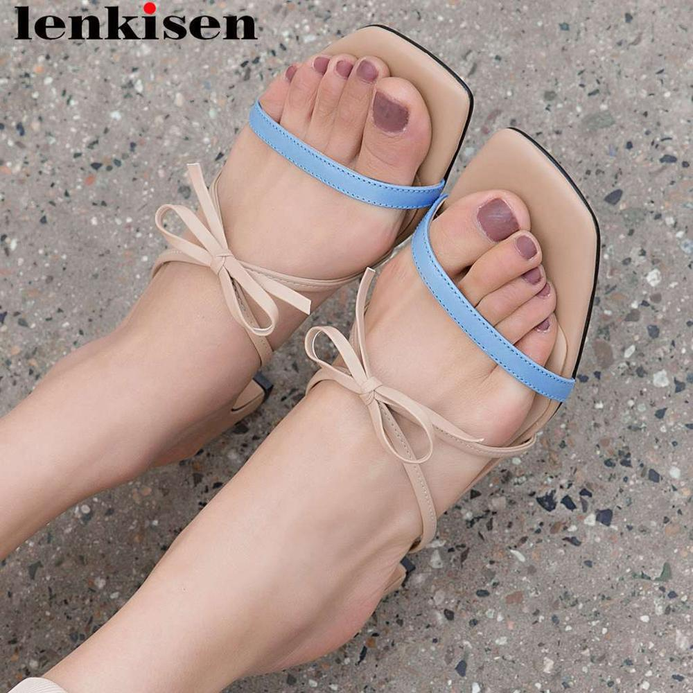 Lenkisen natural leather slip on sandals thick med heels gladiator shoes peep toe mixed colors bowtie concise style shoes L22Lenkisen natural leather slip on sandals thick med heels gladiator shoes peep toe mixed colors bowtie concise style shoes L22