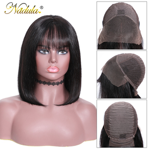Image 4 - Nadula Hair 13*4 Lace Front Wig Short Human Hair Wig 8 14inch Straight Bob Wig For Women Brazilian Remy Hair Natural Color