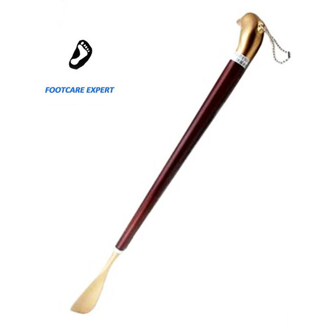 1 Piece Stainless Steel Shoe Horn Alloy Shoe Spoon Long Wooden Handle Shoe Horn Easy Wearing Shoes For Men Woman The elderly