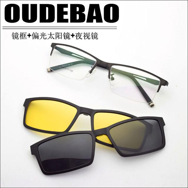 Cuadro de Marco de Aleación de Gafas de Marco Gafas de Miopía Masculina gafas de Sol Gafas de Visión Nocturna Polarizada Clip de Cinturón Conjunto de Espejos