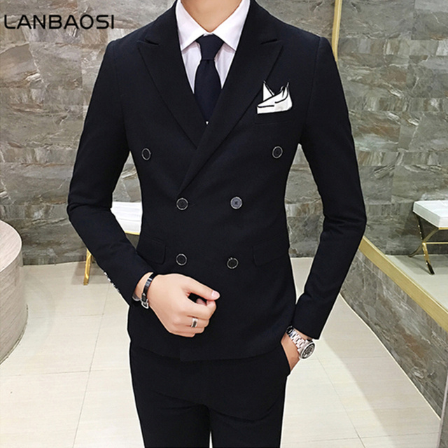 Lanbaosi Double Breasted Two Button Blazer Suit Mens Slim