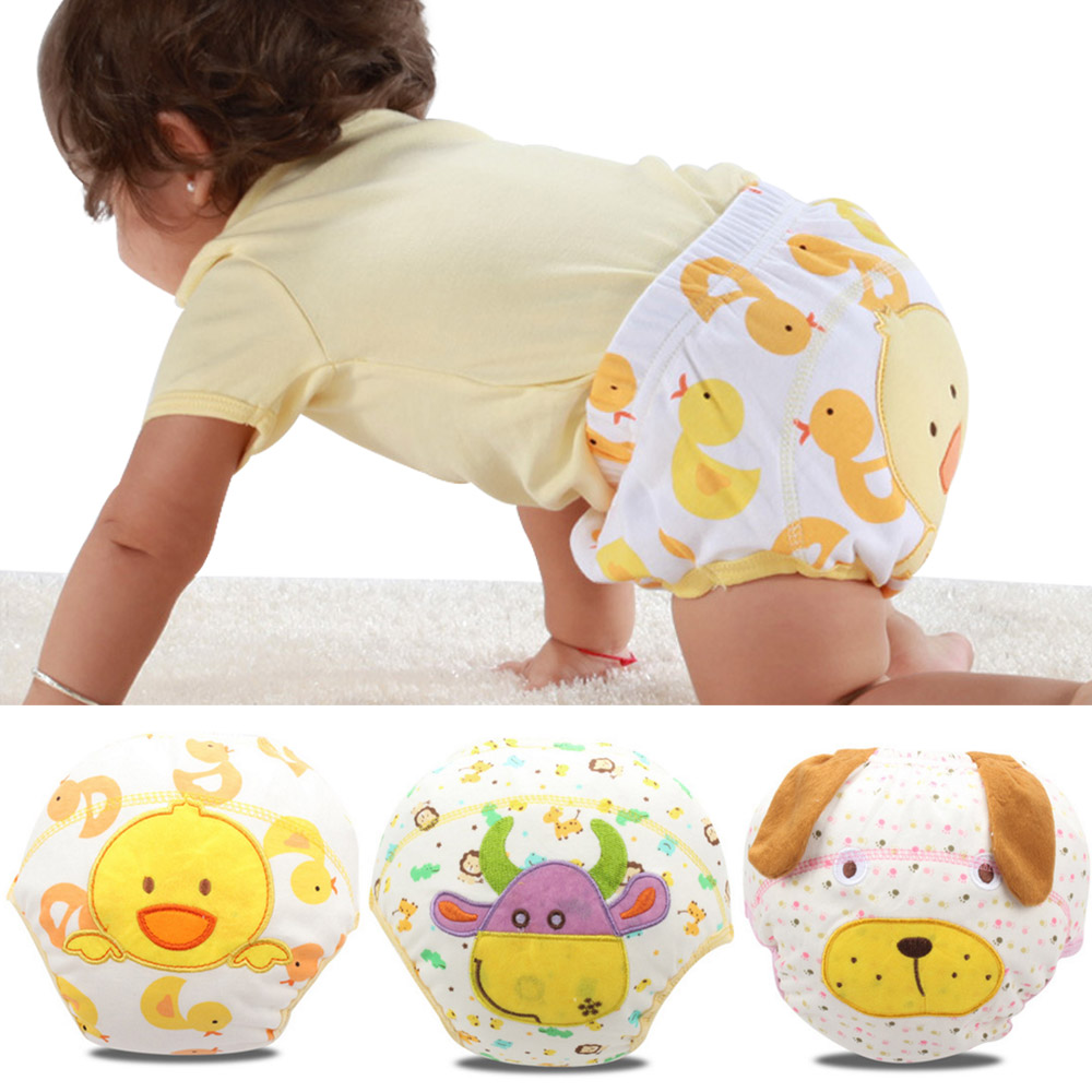 3Pcs Baby Toilet Training Pants Disposable Panties Diapers Underwear Reusable Washable Baby Cloth Diaper Cover Waterproof Diaper [mumsbest] baby disposable diapers biodegradable