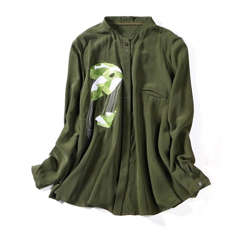 Blouses 100Réel Broderie Européen Printemps Chemises Femme Soie Luxe Lâche Élégant Tops 2019 Américain Vert Femmes P7456 De Vêtements WEY2eHbDI9