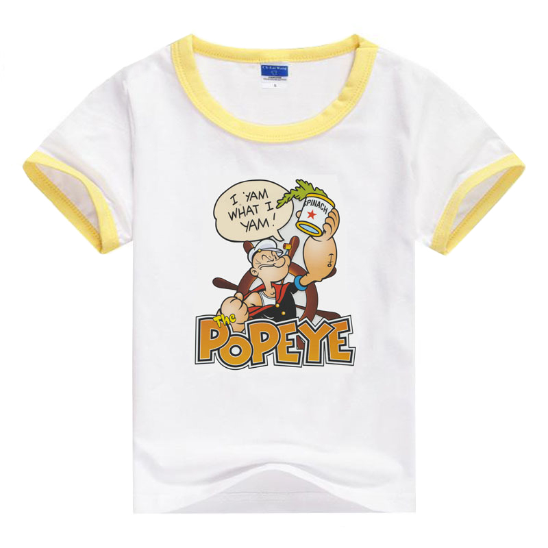 Psyduck Boys Short Sleeve POPEYE Cartoon Print T shirt Kids Clothes Baby Boy Clothes summer top Graphic Tee