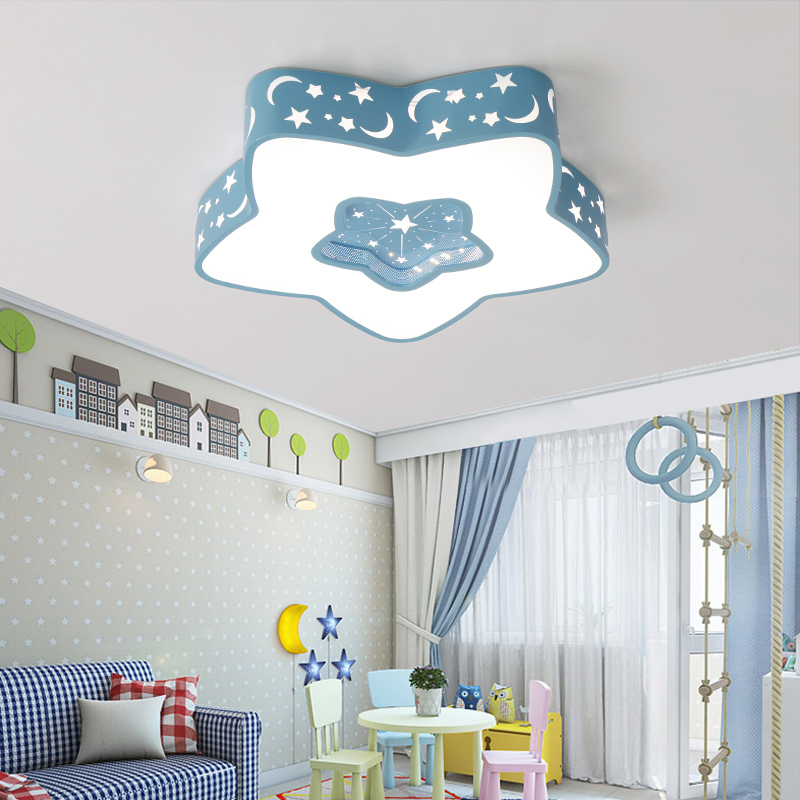Modern led ceiling lights for kids bedroom children room colorful five pointed star ceiling lamp ac96 265v home decoration lamp in ceiling lights from