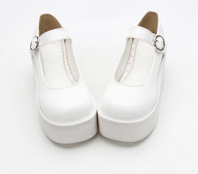 Chica Princesa Mori Partido Mujer Lolita Impresión Blanco 34 Bombas Angelical Altos Señora Cuñas Tacones 47 Zapatos Plataforma Cosplay Vestido q1OwZt