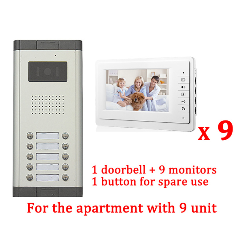 7 LCD Apartment Wired Video Door Phone Audio Visual Intercom Entry System 1 HD Outdoor Camera With 9 monitor diysecur 7 4 wired apartment video door phone audio visual intercom entry system ir camera for 6 families