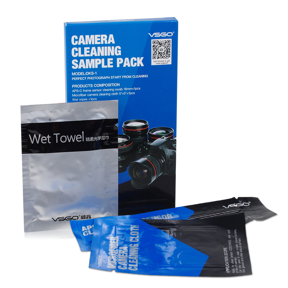 Professional VSGO DSLR Camera Cleaning Kit Simple Pack With APS-C Sensor Swab Wet Towel and Microfiber Cleaning Cloth.