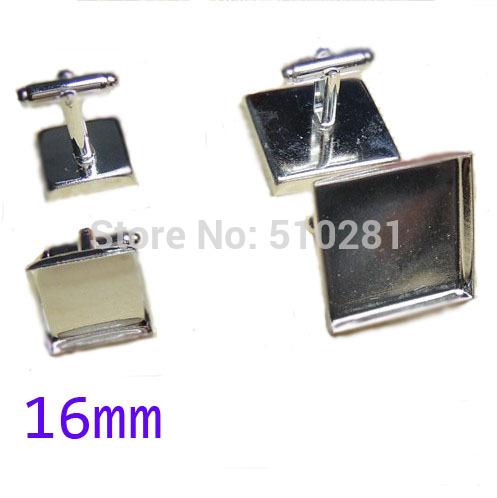 Silver plated French Cuff Links With 16mm Square Flat Blank LK-3003