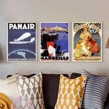 Cartel de publicidad Vintage Marseille Port North Africa cuadros de lona clásicos pared Vintage carteles pegatinas decoración del hogar regalo