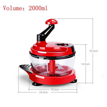 LUCOG 2000ml Meat Slicer Machine Kitchen Manual Food Processor Egg Mixer Fruit Vegetable Nut Meat Chopper with 3 Gears