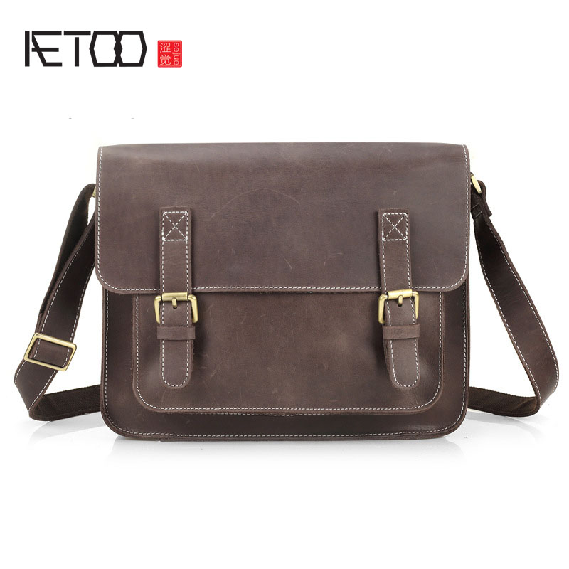 AETOO New men bag leather shoulder bag Messenger bag men bag head layer leather cowhide horse Japan and South Korea leisure brie