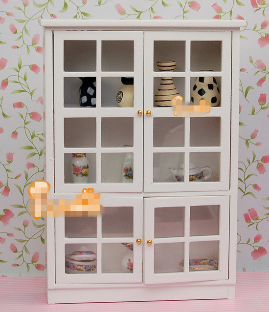 1 12 Dollhouse Miniature Kitchen Furniture White Cupboards Display Cabinet Children Gift Play House Toys