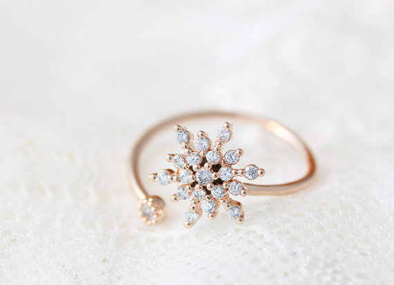 Todorova White CZ Crystal Snowflake Finger Ring Adjustable Opening Rings for Women Wedding Engagement Christmas Gift