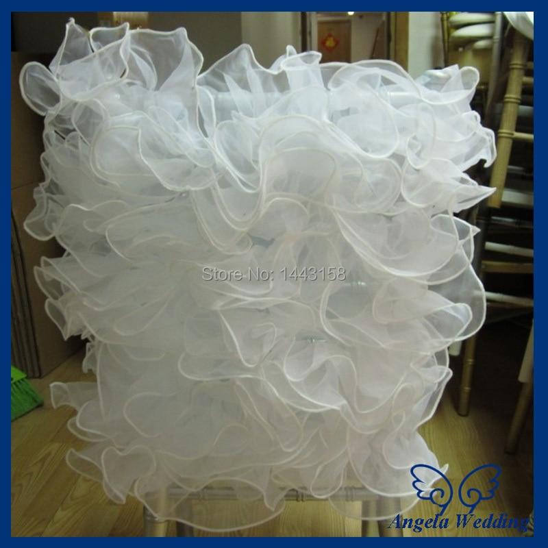 CH008B оптовая необычные свадебные двойными оборками из органзы белый стул крышка