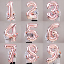 16/32/40 Inch Foil Number Balloon Rose Gold Silver Pink Helium Ballon Baby Shower Birthday Party Wedding Decoration Balloons