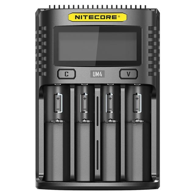 100% oryginalny Nitecore UM2 UM4 USB QC ładowarka inteligentny obwód globalne ubezpieczenie li-ion AA AAA 18650 26650 21700