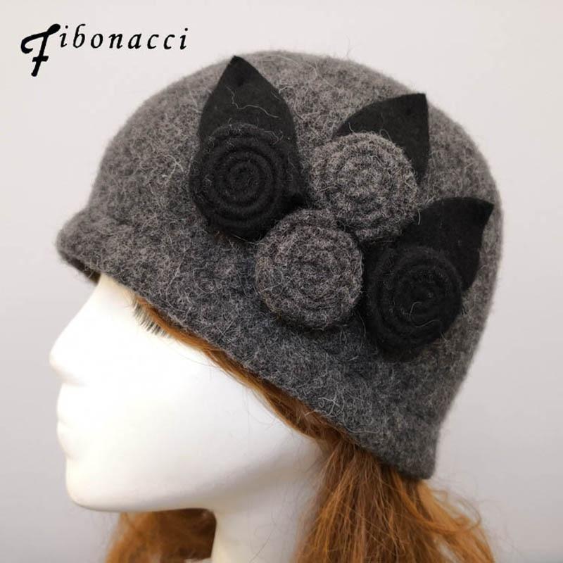 Женская теплая шапка федора Фибоначчи, из 100% шерсти, с цветочным принтом, Осень зима 2019|Женские фетровые шляпы|   | АлиЭкспресс