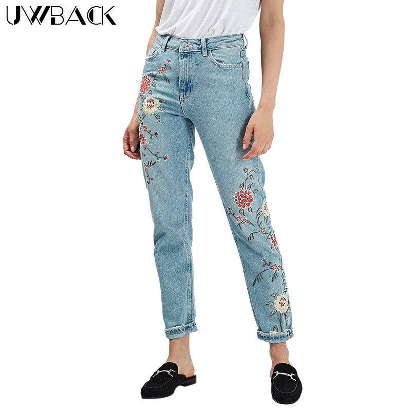 Uwback mom jeans for women new brand embroidery high