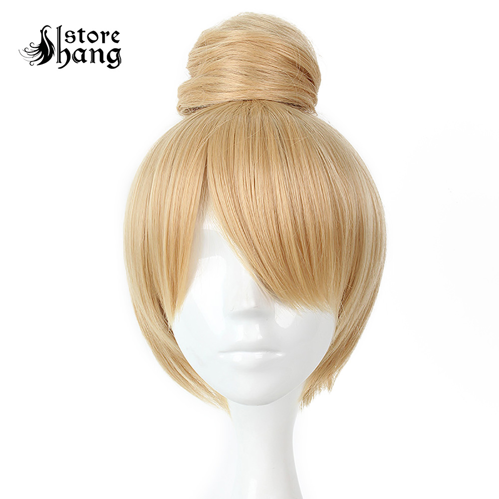 Peter Pan Fairy Tinker Bell Cosplay 30cm Princess Tinkerbell Short Blonde Bun Party  Fancy Dress Accessories Costume Accessories