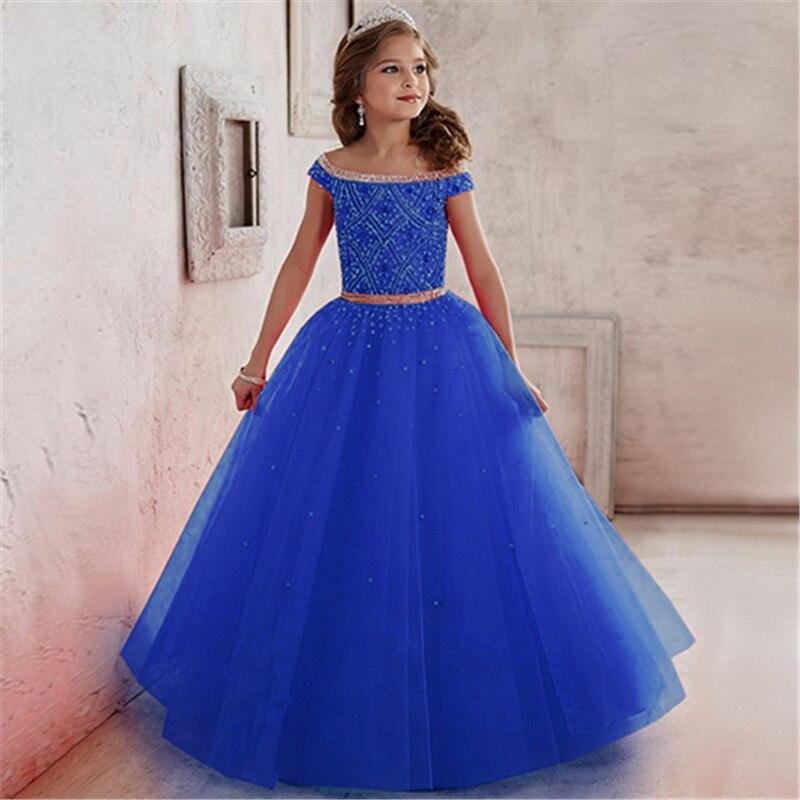 Nouvelles robes de demoiselle d'honneur en Satin Voile perles Appliques robe de bal en paillettes perles robe de soirée Meninas robe de Communion Longo