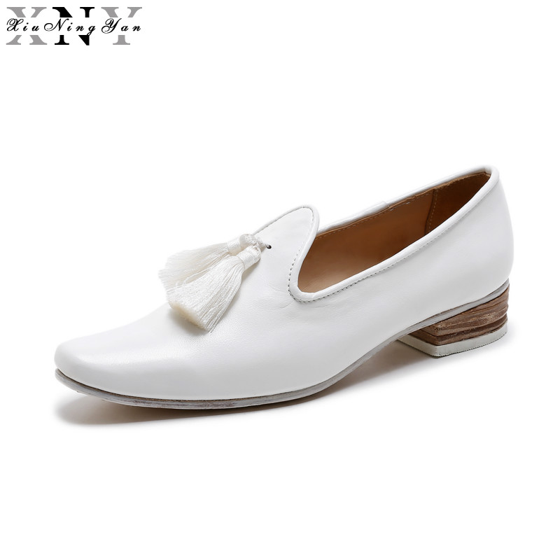XIUNINGYAN Women's Flats Soft Cow Leather Oxford Shoes Women Big Size Brand Fringe Flats Shoes Square Toe Handmade Lady Shoes vintage embroidery women flats chinese floral canvas embroidered shoes national old beijing cloth single dance soft flats
