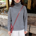 women Autumn and winter New Hot Solid color fashion turtleneck all-match loose thermal thickening Round Neck sweater female