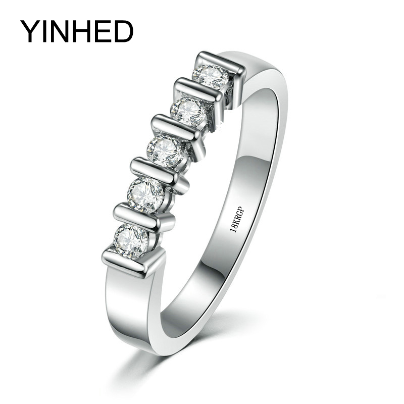 YINHED Wholesale 18KGP White Gold Color Wedding Rings for Women AAA+ Cubic Zirconia Engagement Ring Jewelry Anel ZR480 yoursfs brand luxury wedding engagement rings for women anel ballshape austria crystal 18 k rose gold plated aaa cubic zirconia g