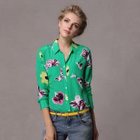 100% silk green flowers female womens fashion long sleeve girls lady casual shirts blouses autumn spring summer sun care clothes