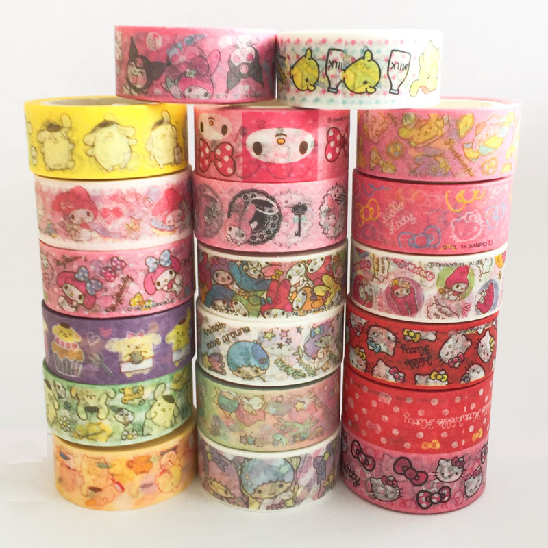 15MM*5M Melody Hello Kitty Twin Star Paper Masking Tape Scrapbooking Decorative Washi Tape Diary Notebook Album DIY Craft diy lace frame transparent clear rubber stamp seal paper craft photo album diary scrapbooking paper card for wedding gift cc 79