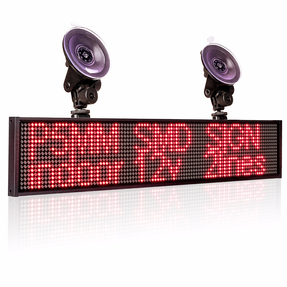 Hot P5mm Wif Indoor LED Signs panel,12v Car Scrolling Ad Message board Red SMD display screen Support iOS phone input +2 sucker-in LED Displays from Electronic Components & Supplies