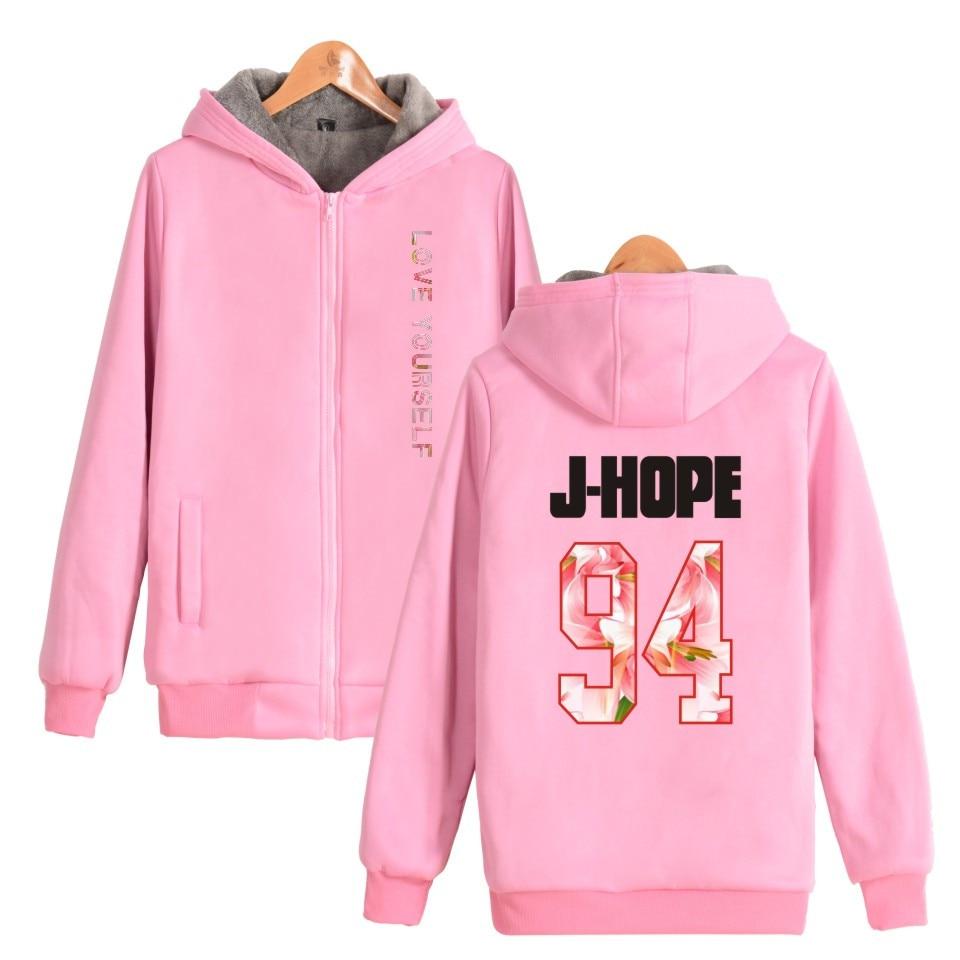 Bangtan Boys BTS Love Yourself Thick Hoodies Sweatshirts With Zipper Winter Warm Thickened Hoodies Zip-Up Love Yourself Printed