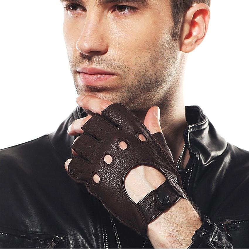Mode 2019 Män Deerskin Handskar Handled Half Finger Drivhandske - Kläder tillbehör - Foto 2
