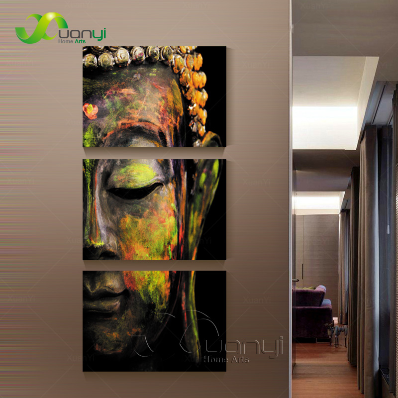 3 piece canvas wall art canvas painting buddha canvas art for Wall art painting