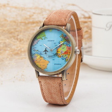 Hot Sale Men Women Watches Casual Canvas Quartz Wrist Watch Global Travel By Plane Map Casual Sports Watches for Women reloj цена и фото