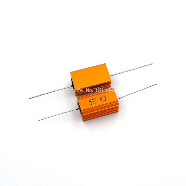 2PCS RX24 5W Aluminium Housed High Power Resistor Metal Shell Heatsink 1 2 3 4 5 10 20 50 100 200 1K Ohm Multiple Resistance