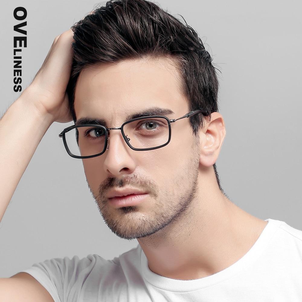 glasögon ramar män Datoroptisk Transparent klar objektiv myopi glasögon Spektakel för manliga receptglasögon ramar