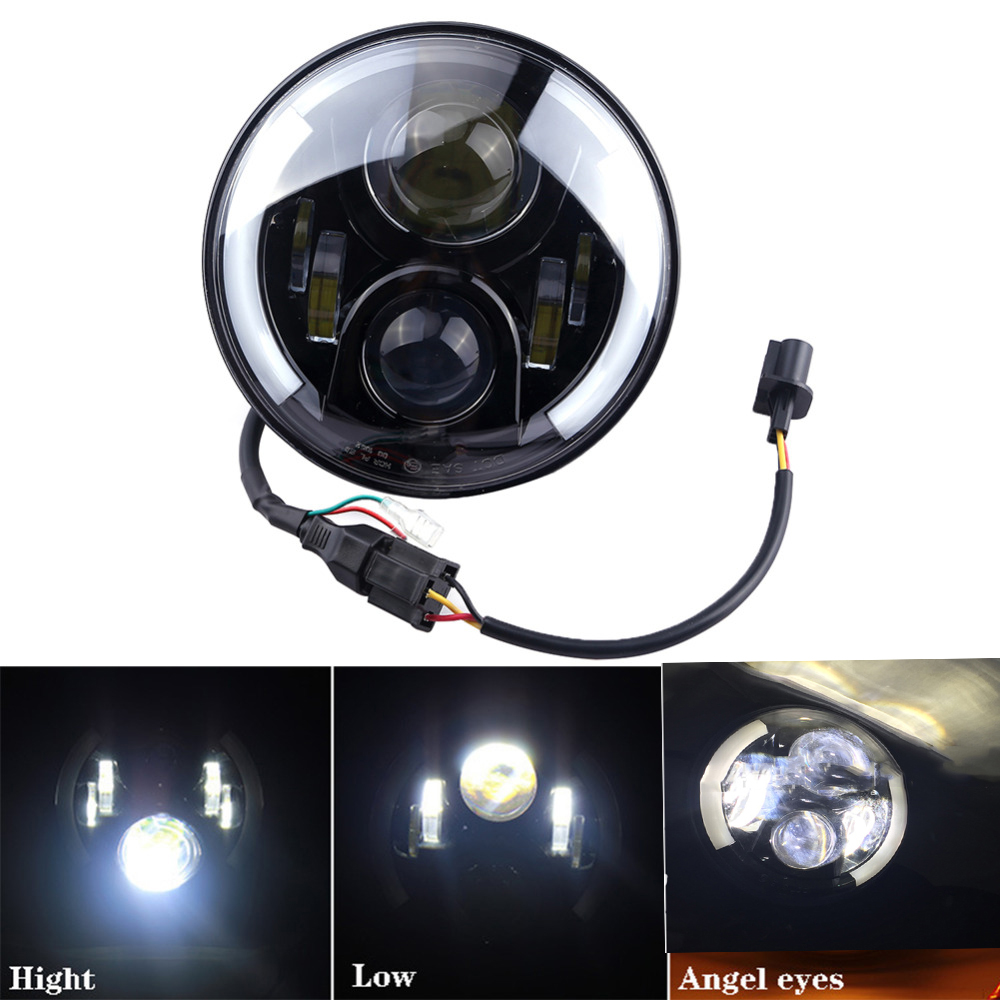 For Daymaker 7 Inch Round LED Halo Headlight Bulb Lamp H4 H13 Angel Eyes Light DRL Head Lamp For Jeep Wrangler JK Hummer Harley 7 inch headlight h4 motorcycle round led headlamp daymaker hi low beam head light bulb drl for harley jeep wrangler