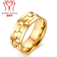 Men S Titanium Steel Rotatable Stylish Brick Double Gear Shaped Spinner Rings