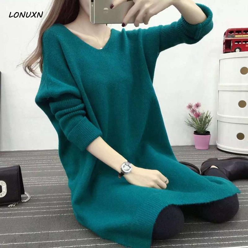 Dress Pullovers Sweater Loose Long-Section Korean Autumn Winter Women New of V-Neck Girl