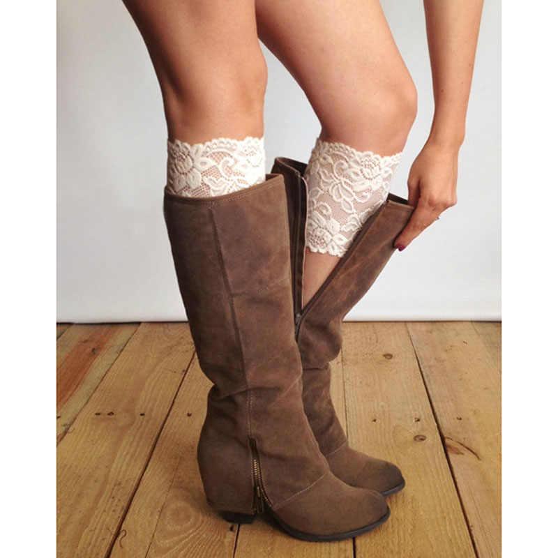 Moda Kadın Streç Dantel bot paçaları Çiçek Bacak Isıtıcıları Dantel Trim Toppers Çorap W715