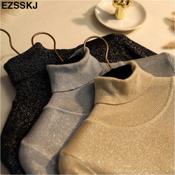 Glitter Turtleneck knit sweater Shinny Chic Women Sweaters And Pullovers spring Autumn thin bling Lurex slim baisc sweater 1