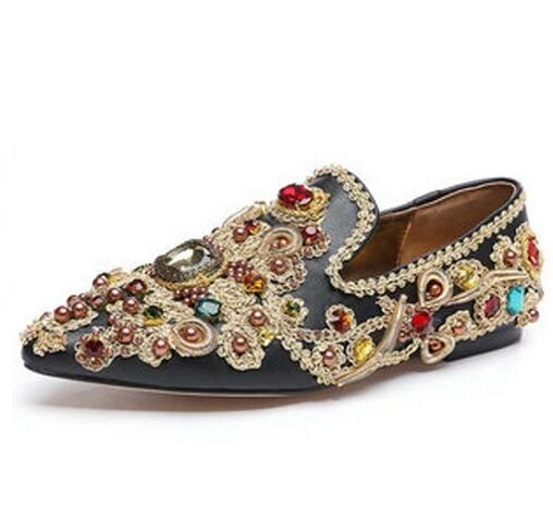 Royal Crystal Studded Embroidery Beads Flats Shoes Women Pointed toe Spring Rhinestones Slip-on Flat Shoes Big Size 43 Flats cresfimix women cute spring summer slip on flat shoes with pearl female casual street flats lady fashion pointed toe shoes
