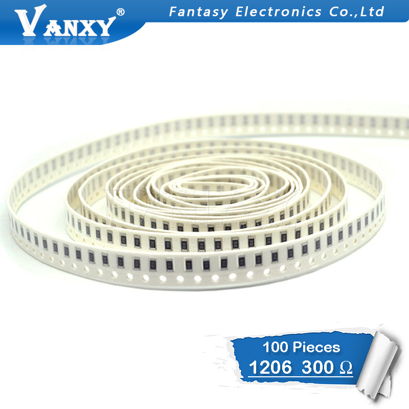 100PCS 1206 SMD Resistor 1% 300 Ohm Chip Resistor 0.25W 1/4W 300R 301
