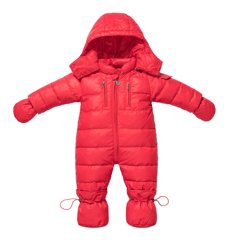 Winter Infant Romper Hooded Baby Rompers Newborn Bebe Clothing Duck Down Jumpsuits Boys Girls Outerwear Costume 2 5 years russian winter baby white duck down rompers with real fur hood outdoor skit snowsuit girls clothing infant boy romper
