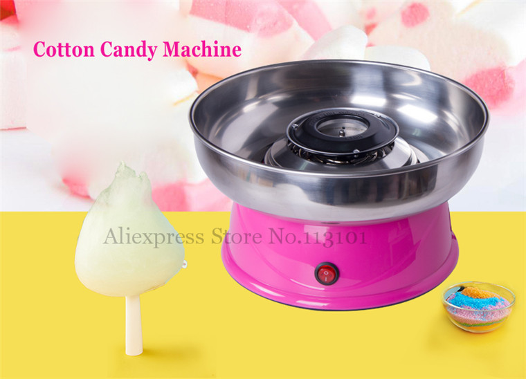 Electric Candy Floss Machine Small Cotton Candy Machine Electric Floss Maker Pink Color with Stainless Steel Basin 1030w electric commercial cotton candy maker fairy floss machine stainless steel pink