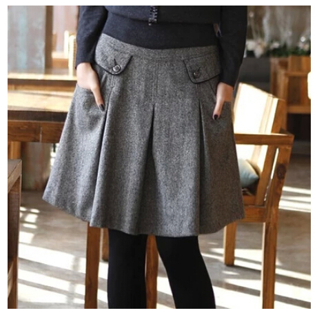 New Arrival Autumn Winter Spring Plus Size Skirt Women Casual Skirt Spring Fashion Woolen Skirts For Women S91 Free Shipping