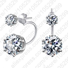 Fashion Earing Big Cubic Zirconia Ear Jackets Jewelry High Quality 925 Sterling Silver Ear Clips Stud Earrings For Women(China)