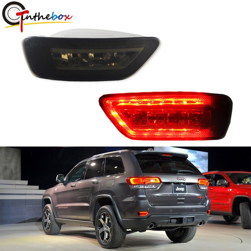 Smoke Lens Rear Fog Light Kit w/LED Bulbs, Rear Foglamps, Wirings For 2011-up Jeep Grand Cherokee WK2, Compass and Dodge Journey цена